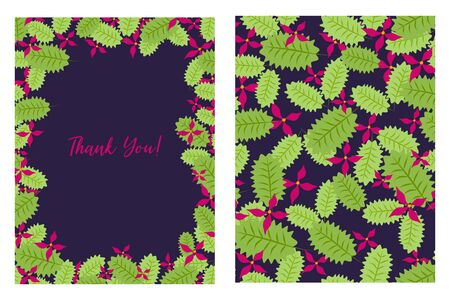 Thank You card with floral pattern. Flat style hand drawn illustrations with copy space for text. Simple cartoon design. Çizim