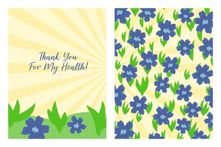 Thank You For My Health card with floral pattern. Flat style hand drawn illustrations with copy space for text. Simple cartoon design.