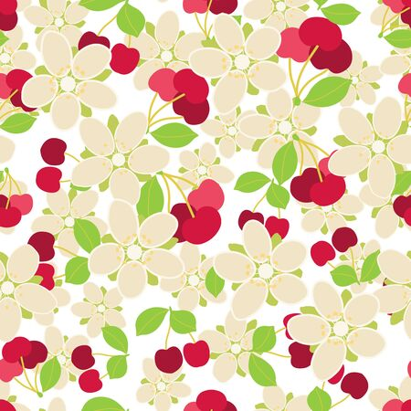Seamless pattern with cherry berry, flowers and leaves. Floral vector background.