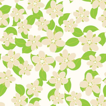 Seamless pattern with cherry flowers and leaves. Floral vector background. Çizim