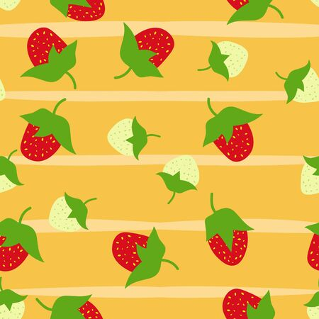 Strawberry seamless pattern, hand drawn, doodle vector background, for tablecloth, wrapping, packaging, textile, decoration. Çizim
