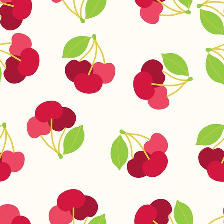 Seamless pattern with cherry berry and leaves. Floral vector background.
