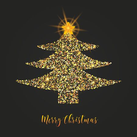 Christmas tree, shining star, golden gritter design, calligraphic text on black background.