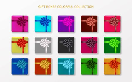 Gift boxes with bows in different colors. Set of realistic presents. Vector decoration templates.