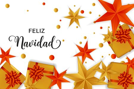 Feliz Navidad Merry Christmas spanish typography. Christmas vector card with bright colorful confetti, gift boxes and stars in red and golden colors on white background. Çizim