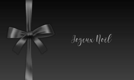 Joyeux Noel Merry Christmas french typography. Christmas vector card with black realistic bow on black background.