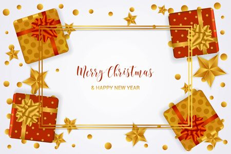 Christmas card with realistic gift boxes, stars and confetti in golden and red colors on white background. Merry Christmas and Happy New year typography. Çizim