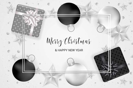Christmas card with realistic gift boxes, stars, balls, and confetti in golden and black and silver colors. Merry Christmas and Happy New year typography.