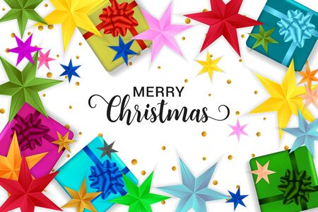 Merry Christmas typography. Christmas vector card with bright colorful confetti, gift boxes and stars on white background.