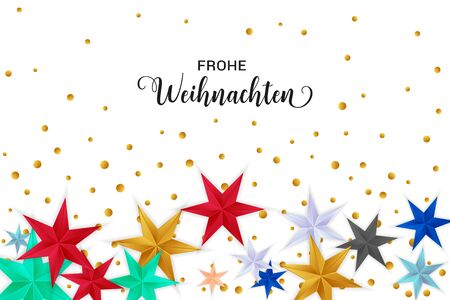 Frohe Weihnachten Merry Christmas german typography. Christmas vector card with bright colorful stars and round confetti on white background.