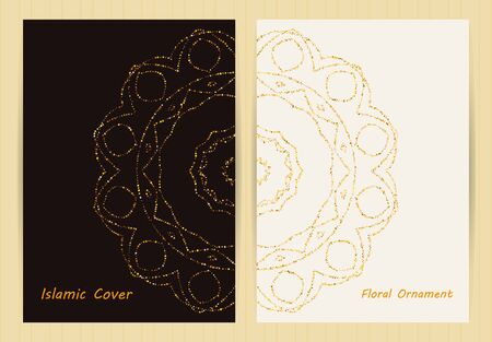 Covers with mandala. Ethnic floral backgrounds in golden colors. Japanese, arabic, islamic, eastern, oriental, muslim style for restaurant menu, flyer, business card, brochure, book cover, banner.