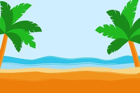 Tropical scene with palm trees, sand, sea shore, copy space for text.