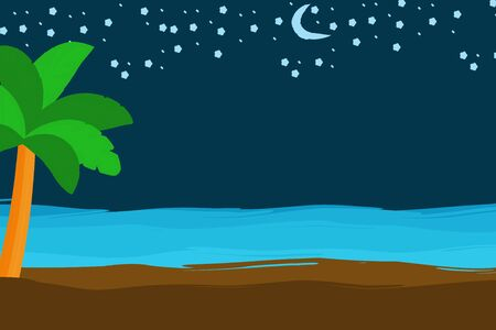 Tropical summer night scene with palm tree, sand, sea shore, Moon and stars, copy space for text.
