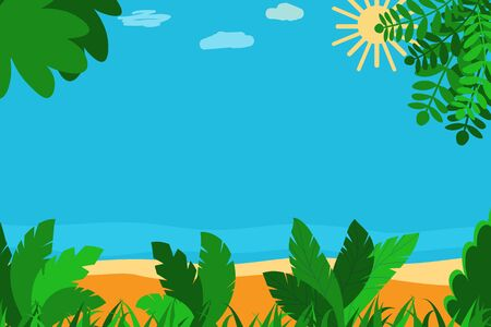 Tropical summer scene with trees, grass, sand, sea shore, copy space for text. Çizim