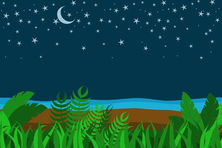 Tropical summer night scene with grass, plants,, sand, sea shore, Moon and stars, copy space for text.