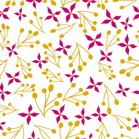 Seamless pattern with flowers and branches. Floral vector background.