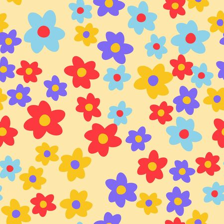 Seamless pattern with hand drawn doodle flowers. Floral vector background. Çizim