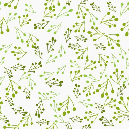 Seamless pattern with twigs and branches. Floral vector background.