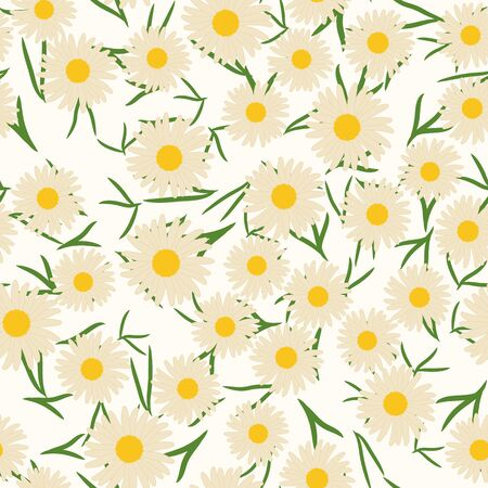 Seamless pattern with camomile flowers and leaves. Floral vector background.