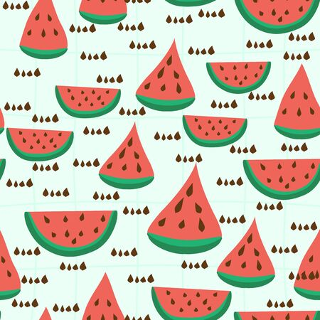 Watermelon seamless pattern. Cute summer background. Food vector illustration.