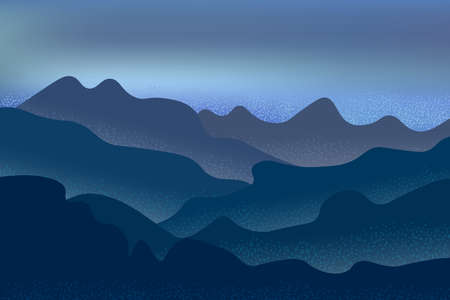 Night in the mountains, foggy evening and beautiful sea view. Illustration