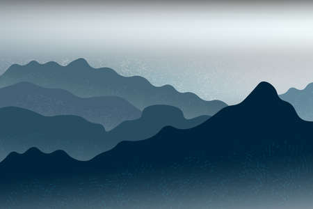 Foggy sunset, sunrise in the mountains. Beautiful landscape with rocks, hills and sea view.