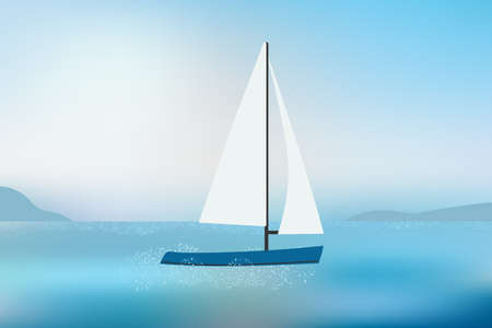 Sailing yacht on sea waves with mountains view in daylight.
