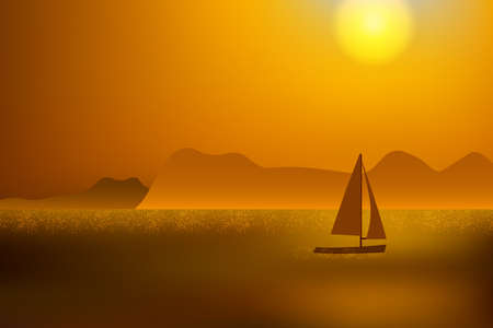 Beautiful golden sunset over the ocean with distant mountain and sailing yacht.