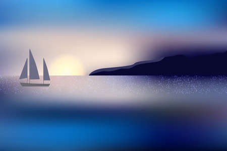 Beautiful sunset over the ocean with distant mountain and sailing yacht. Illustration