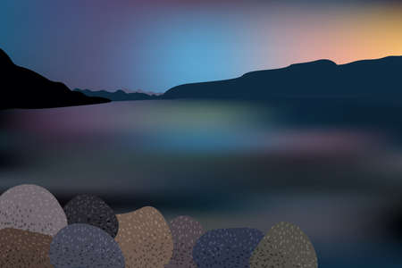 Beautiful sunset over the lake with mountain and rocks view.