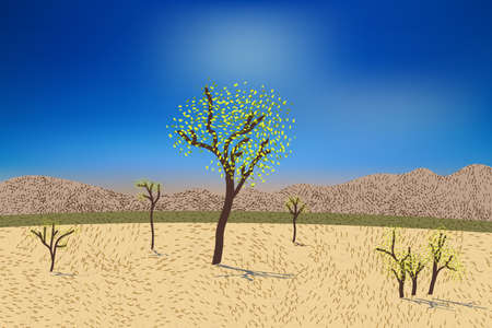 Beautiful desert view with stylized hills, trees, grass and bushes. Bright day light. Illustration