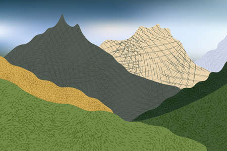Beautiful view with stylized mountains and green hills, trees and grass. Illustration