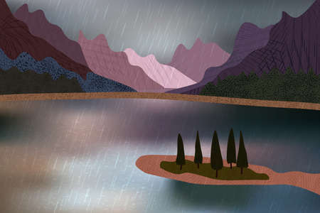 Beautiful rainy day with mountains view over water surface and pine trees.