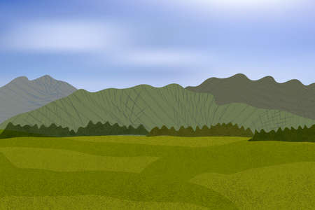 Beautiful meadow with distant stylized mountains and trees. Illustration