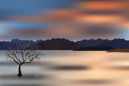 Beautiful sunset mountains, lonely tree and water coast view. Reflections of the clouds on water surface.