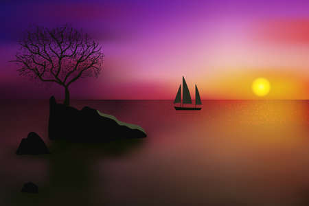 Beautiful sunset over blinking sea surface with tree growing on a rock and distant sailing yacht. Illustration