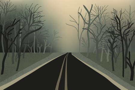 Road through the misty bare forest with dry grass.