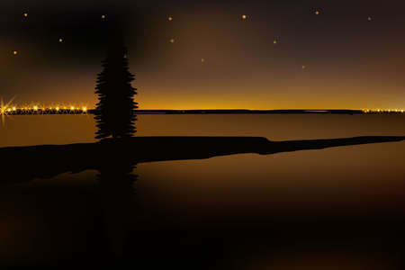 Beautiful night with water reflecting starry sky, lonely firtree and distant blinking lights. Illustration