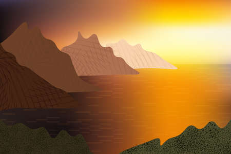 Beautiful golden sunset over ocean view, row of rocks, blinking water surface. Illustration