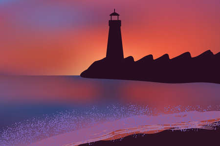 Beautiful sunset on ocean beach with a Lighthouse standing on the embankment.