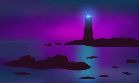 Lighthouse illuminating reefs, seashore. Beautiful mauve sunset.