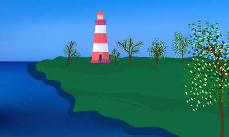 Lighthouse on a green camp, surrounded by the trees, clear blue sky and water coast.