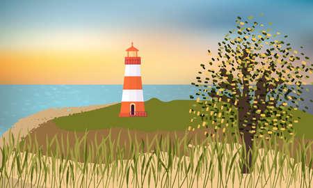 Lighthouse on a sand beach, grass and tree, beautiful sea sunset.