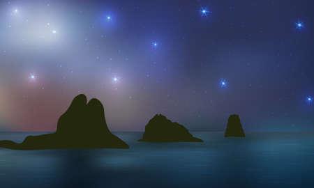 Starry night over ocean, rocks, reflections in water. Beautiful twilight, fantasy outdoor. Illustration