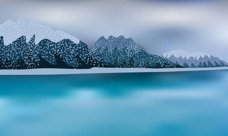 Winter scene with frozen water, cloudy sky and mountains in snow.