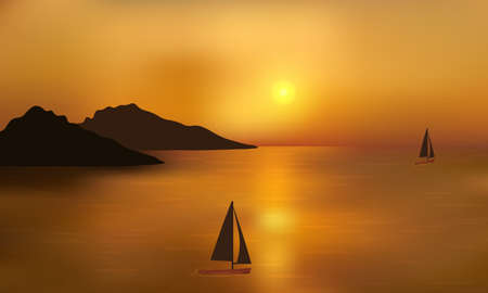 Beautiful golden sunset over the ocean with distant mountain and sailing yachts. Reflections on the water surface.