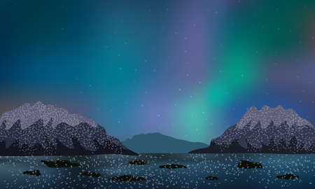 Beautiful night on a frozen lake, mountains covered with snow, sky with polar nothern lights.