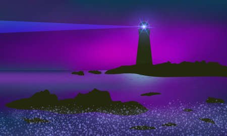 Lighthouse illuminating reefs with beam, seashore and surf. Beautiful mauve sunset.