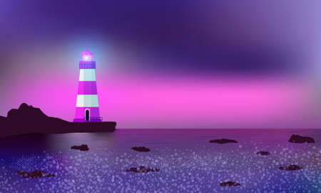 Lighthouse illuminating reefs, seashore and surf. Beautiful mauve sunset.