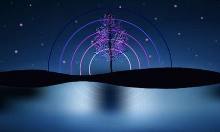 Decorated tree, starry sky,water surface reflections. Beautiful night scene. Illustration